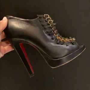 Louboutin - Manon Black Leather Buckle Details